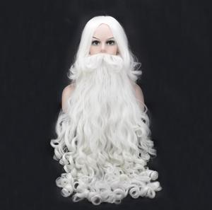 80cm Long Christmas Costumes Santa Claus Wig and Beard Synthetic Hair Short SantaClaus Xmas Gift Cosplay Wigs(China)