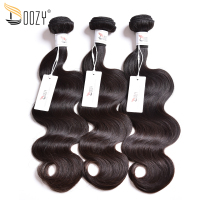 Doozy Body Wave Brazilian Virgin Hair 3 Bundles Natural Color Double Weft Virgin Human Hair Weave