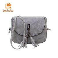 Loshaka Women Tassel Messenger Fashion PU Leather Bags Woman Handbag Small Shoulder Bag Casual Flap Women