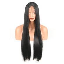 Marquesha реалистичный вид черный парик для волос длинные шелковистые прямые синтетические парики на шнурках спереди термостойкие волокна парик для женщин
