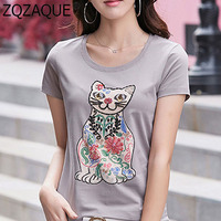 2019 New Cool T-Shirts Women Knitted T Shirt Embroidery Beading Cute Cat Female's Cotton Tops Girls Casual Summer Fall Pullover