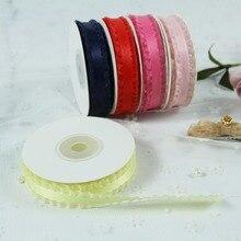 16mm 10yards/lot Polyester Organza Sheer Edged Satin Ribbon Garment Gift Accessories DIY Craft Supplies Hairbow Wedding Decor