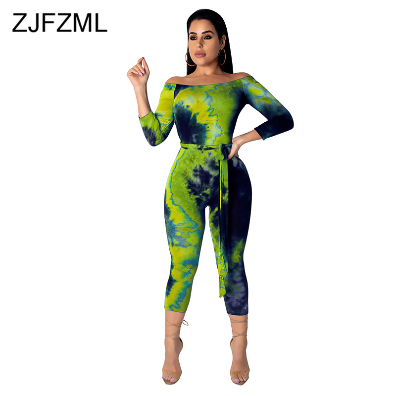 Off The Shoulder Rompers Womens   Jumpsuit   Summer Tie Dye Print Long Sleeve Bodycon Overall Casual Slash Backless Party Bodysuit
