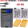 Caliente 2x lp-e8 lp e8 lpe8 batería + cargador lcd para canon eos X4 X5 X6i X7i 700D 550D 600D 650D T2i T3i T4i T5i DSLR