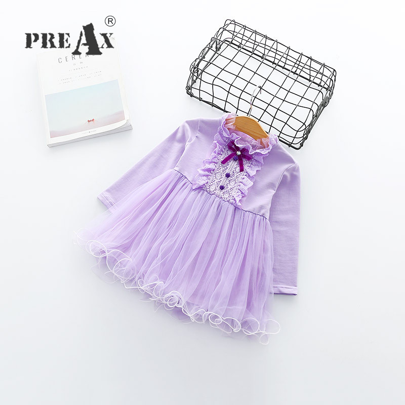 2018 Spring Baby Girls Kids Dresses for Girls Princess Dress Romantic Purple Sweet Pink Party Cotton Lace Bow Dress Kids Costume girls europe the united states children princess long sleeved purple lace flower dress female costume kids clothing bow purple