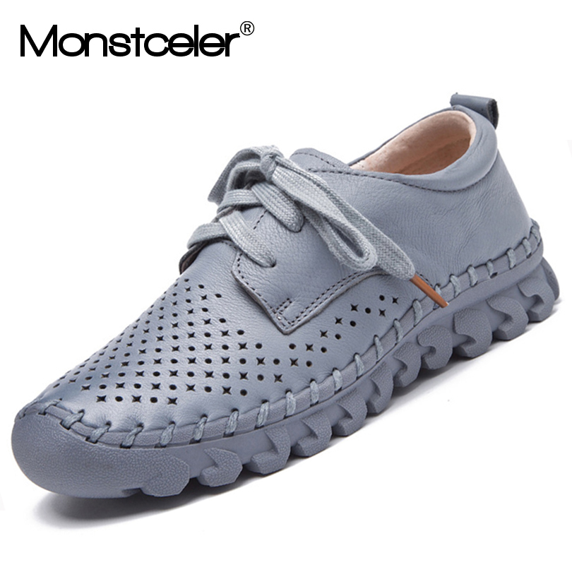 Handmade Genuine Leather Women Shoes New Hollowed Hand stitched Casual Vulcanize Shoes Spring Summer Soft soled