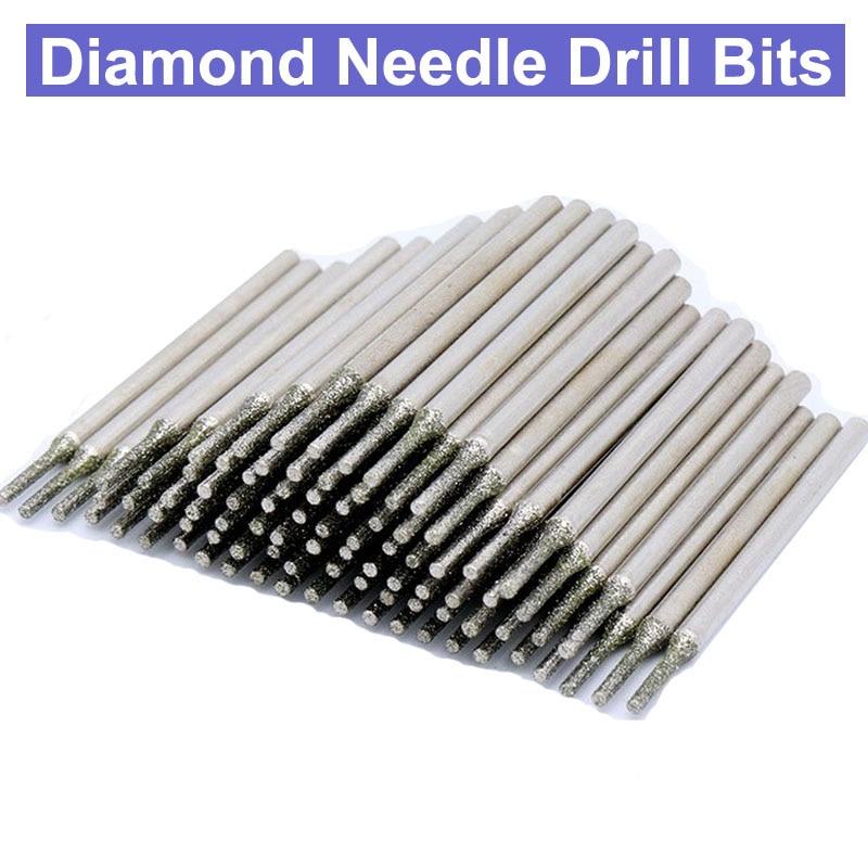 20pcs 2.35mm/3.0mm Shanks Diamond Grinding Burr Needle Point Engraving Carving Polishing Glass Jade Stone Drill Bit Rotary Tool