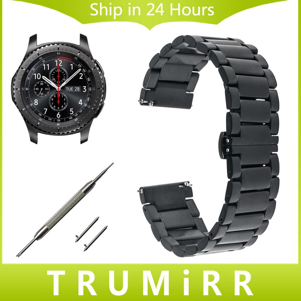 Prix pour 22mm montre en acier inoxydable bande + libération rapide pour samsung vitesse s3 classique/frontière garmin fenix chronos dragonne Bracelet