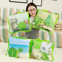 38cm*38cm Cute Cartoon Plush Travel Frogs Pillow Toys Frogs Pillow Blanket Combo Two in one Pillows Air Conditioning Blanket