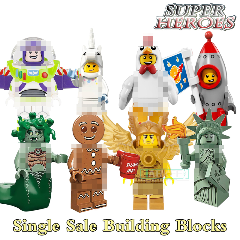 1PC PG8061 Building Blocks Gingerbread Man Medusa Rocket Boy Unicorn Girl Statue of Liberty Chidren Gift Toys Super Heroes Kits