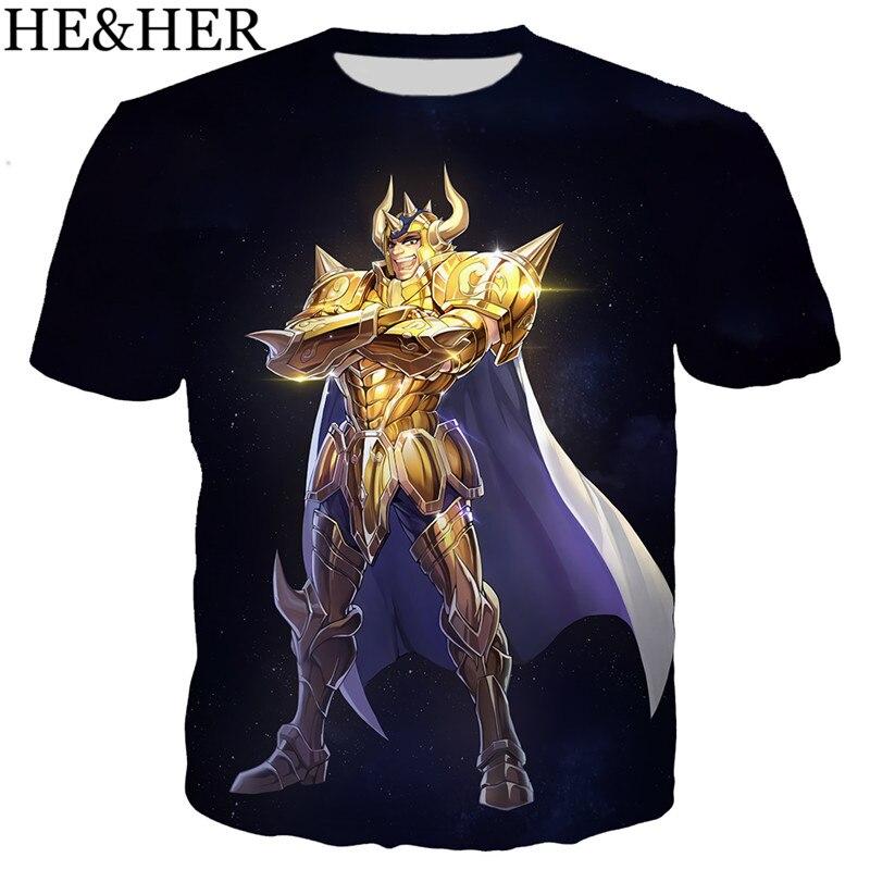 New Cool T Shirt Men/women Classic Anime Gold Saint Seiya 3D Printed T-shirts Casual Harajuku Style Tshirt Streetwear Tops