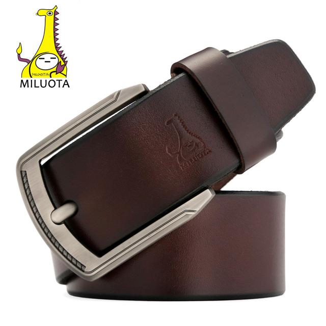 [Miluota] top cow cuero genuino pin hebilla de correa de los hombres cinturones de diseño hombres de alta calidad hombre de la correa de lujo mu006