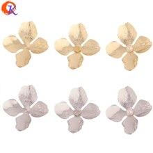 Accesorios de joyería de diseño Cordial, 50 Uds., 41x45MM, fabricación de pendientes DIY, forma de flor, cobre, hechos a mano, accesorios de joyería