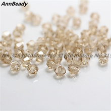 100pcs Champagne Color 4mm Bicone Crystal Beads Glass Beads Loose Spacer Beads DIY Jewelry Making Austria Crystal Beads