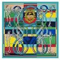 130x130 cm Bufandas Cuadradas de Seda Pura Bufanda de Lujo para Las Mujeres Della Cavalleria Color Patchwork Bandana Caliente