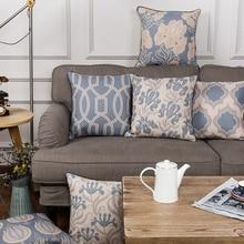 Venta al por mayor funda de almohada Vintage azul estilo europeo Floral funda de cojín decorativo para el hogar funda de almohada 45x4 5 cm/30x50cm