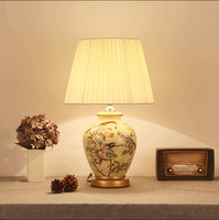 Chinese Rustic Flower Bird Pattern Ceramic Art Table Lamps Fashion Beautiful Fabric E27 LED Lamp For