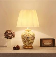 Chinese Rustic Flower Bird Pattern Ceramic Art Table Lamps Fashion Beautiful  Fabric E27 LED Lamp For Bedsideu0026foyeru0026studio MF009