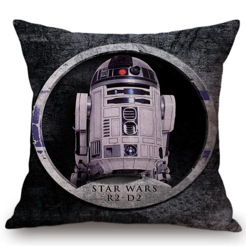 Fashion Yoda Robot Classic Film Cushion Cover Star Wars Characters Symbol Pattern Cotton Linen Pillowcase Throw Pillow Cover