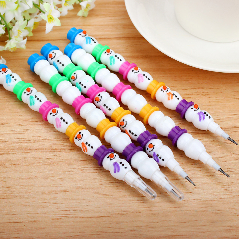 1PCS/Lot Stationery Cute Snowman Pencils Cartoon Gift Pencil With 5 Segments Assembled School And Office Supplies assorted cartoon pencils 5 pack