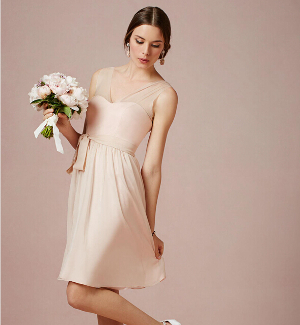 Blush Pink Short Bridesmaid Dresses A Line Chiffon Junior Gowns V Neck Tank Sleeveless