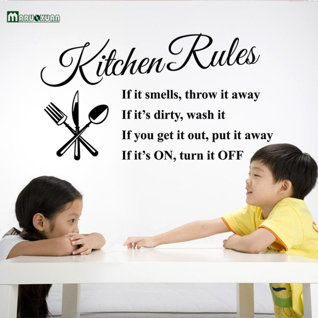 Kitchen Rules Living Room Kitchen Vinyl Wall Stickers for Kids Room Lettering Art Quote Decals Home Poster Sofa Wall Decoration