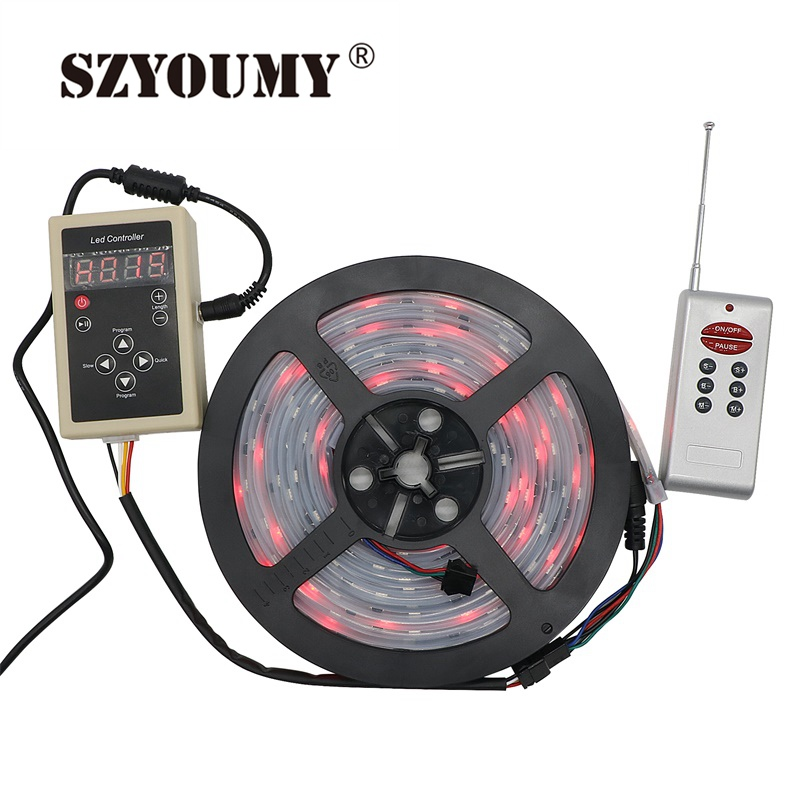 SZYOUMY 5M 12V 6803 IC Dream Color RGB LED Strip 5050 SMD 30LED/m IP66 Waterproof Chasing Magic Color Tape + 133 Program Control