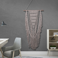 New Bohemian Beige Macrame Woven Wall Hanging Tapestry Backdrop Background Home Handmade Cotton Wall Art