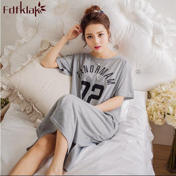 Plus size women   nightgowns   letter print cotton nightdress summer long dress short sleeve ladies sleepwear   sleepshirt   M-3XL