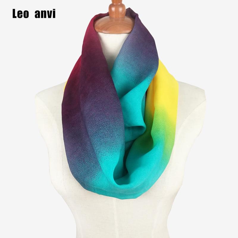2019 Ladies Scarves Women Gradient Scarf Pattern Thin Chiffon Foulard Silk Rainbow Ring Scarf Infinity Summer Bandana Hijab