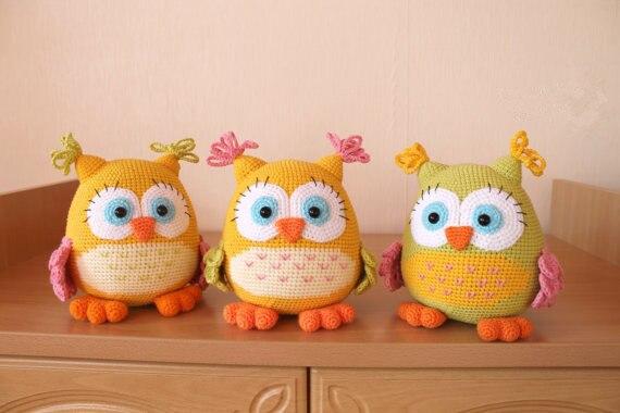 Amigurumi Boneka : Colorful owl boneka amigurumi toy doll rattle di bayi mainan