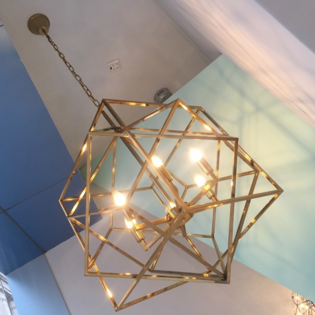 Designer Lighting Gold Cage Light Fixture Chandelier Copper Geometry - Gold kitchen pendant lights