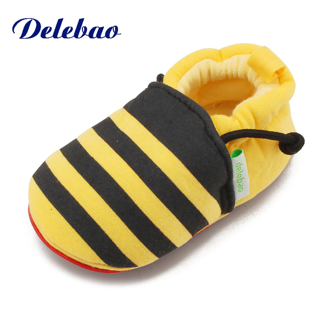 5825ecc3ecb7bc Delebao Yellow Bee Cotton Fabric First Walkers Baby Girl   Boy Shoes Lovely  Chick Hook   Loop Baby Shoes For 0-24 Months
