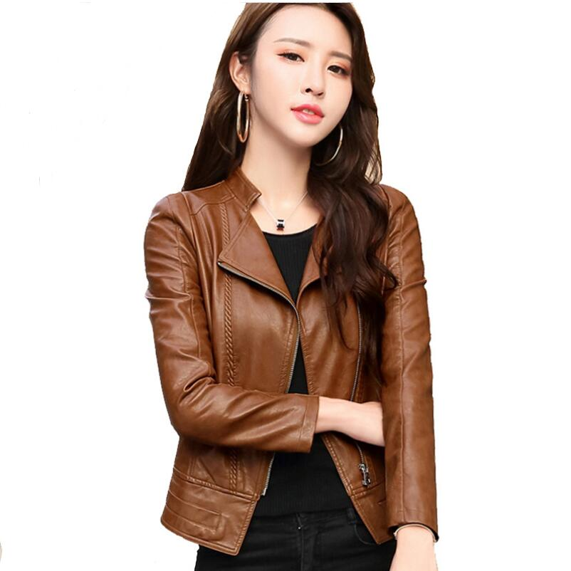 2018 Spring Autumn Women Leather Jacket New Fashion Zipper Motorcycle Leather Jacket Women Casual Slim Jackets Outerwear