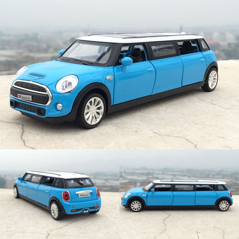 1:32 Mini Extended Limousine Metal Toy Cars Diecast Model Pull Back Flash Music Sound Car Miniatures For Kids Gift