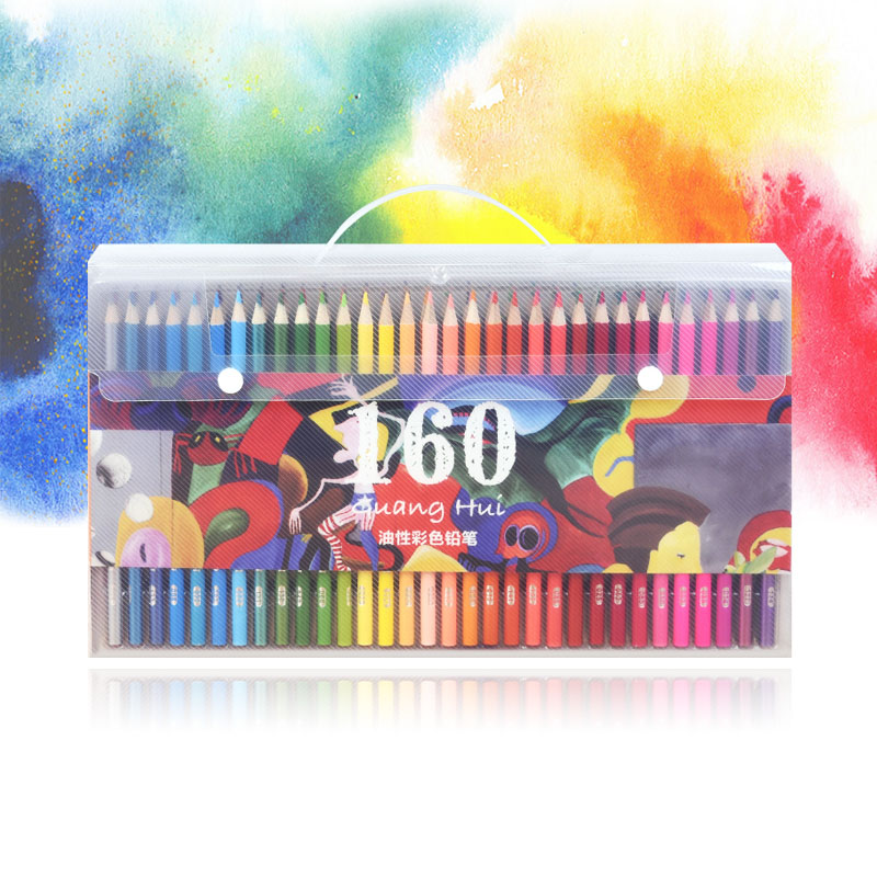 120/160/72/48 Colors Wood Oil Colored Pencils Set 160 PU Pencil Case( High Quality ) For Drawing Sketch School Gifts Art Supplie