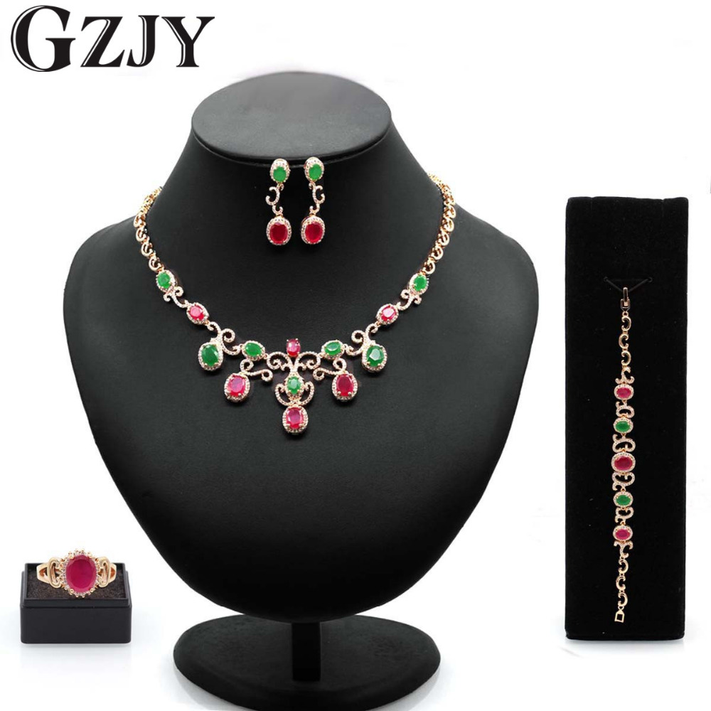 GZJY Luxury Wedding Bridal Jewelry Sets Green&Red Zircon Gold Color Necklace Earring Ring Bracelet Sets for Women gzjy gorgeous red zircon bridal jewelry sets gold color flower necklace earrings ring bracelet sets wedding jewelry for women
