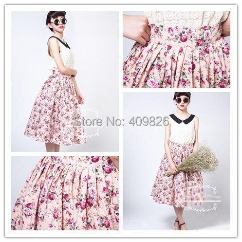 50s Vintage Elegant High Waist Ultralarge Pink Retro Floral Print Oversized Swing Tutu Puff Skirt Waspish Waist Design Ball Gown