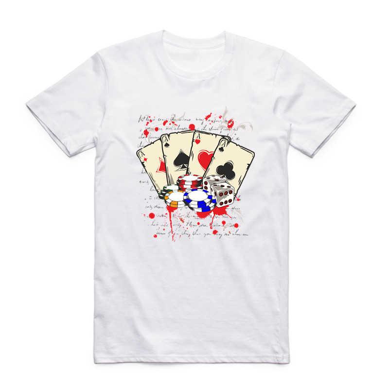 S-XXX Мужчины Женщины Казино Лас-Вегас принт белая модная футболка с коротким рукавом o-образным вырезом унисекс Harajuku Джокер азартные игры крутая футболка