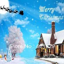 Snowy Christmas 8'x8′ CP Computer-painted Scenic Photography Background Photo Studio Backdrop ZJZ-067