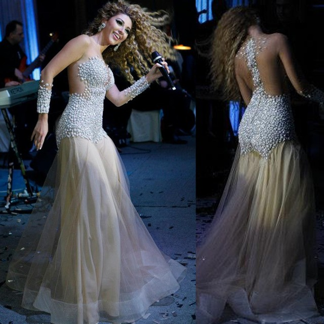 Fast shipping Myriam Fares Celebrity Dress A Line Long Sleeve Bead Crystal Floor Length Custome Prom Dresses New Arrival 2013