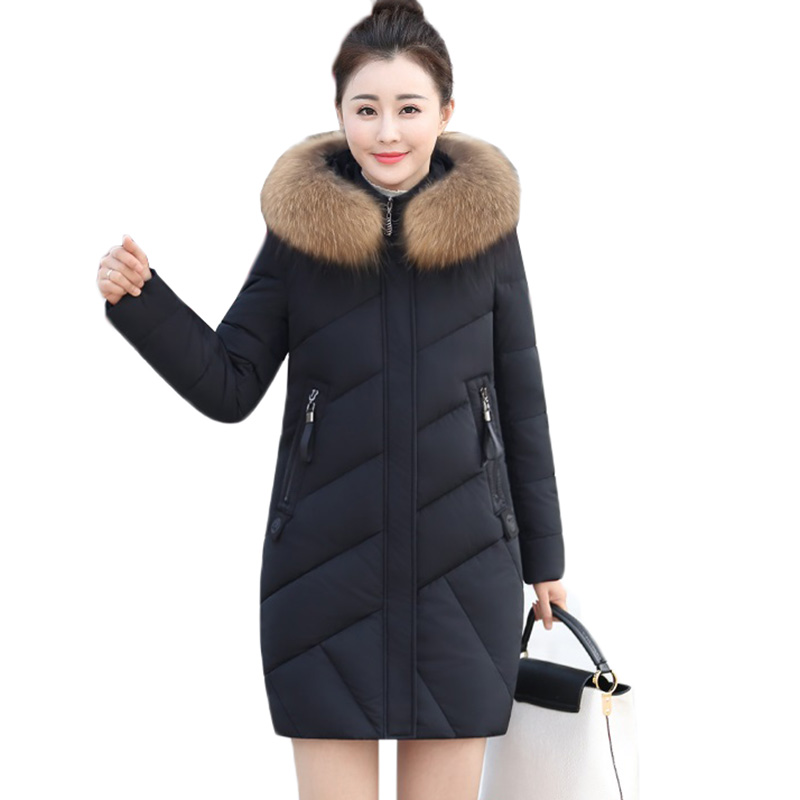 Women Parkas Winter Jacket New Fashion Fur Collar Hooded Outerwear Warm White Duck Down Cotton Jacket