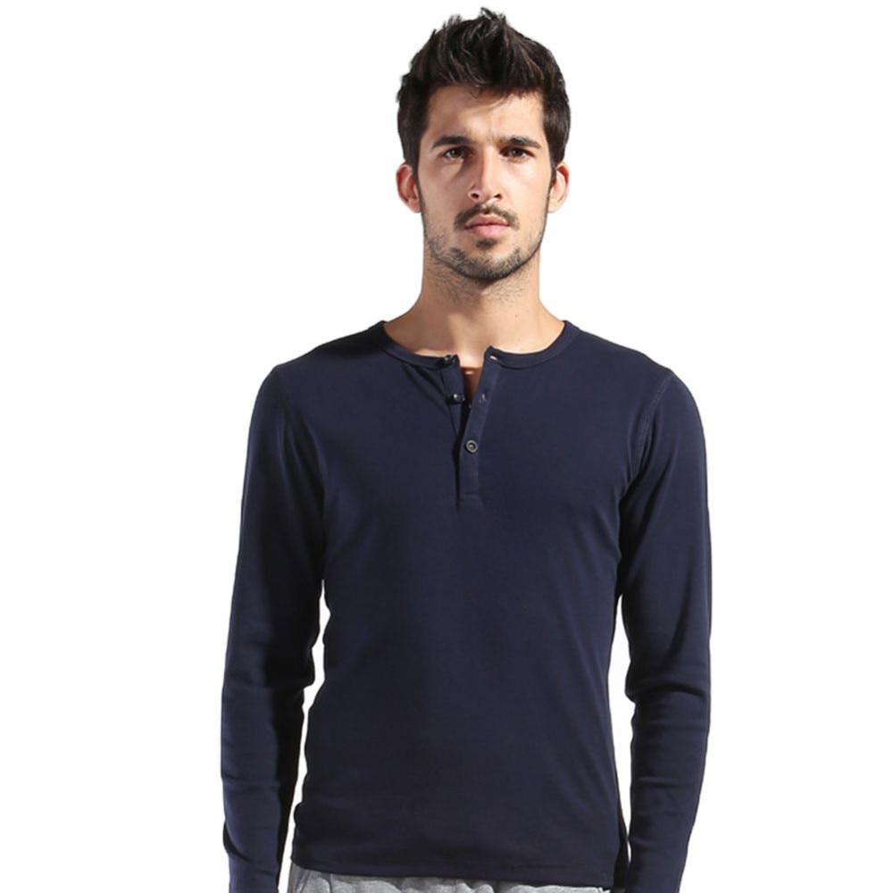 233a79b5b589 Autumn Men s Basic Tee Long Sleeve Henley Shirts Slim Cut Casual ...