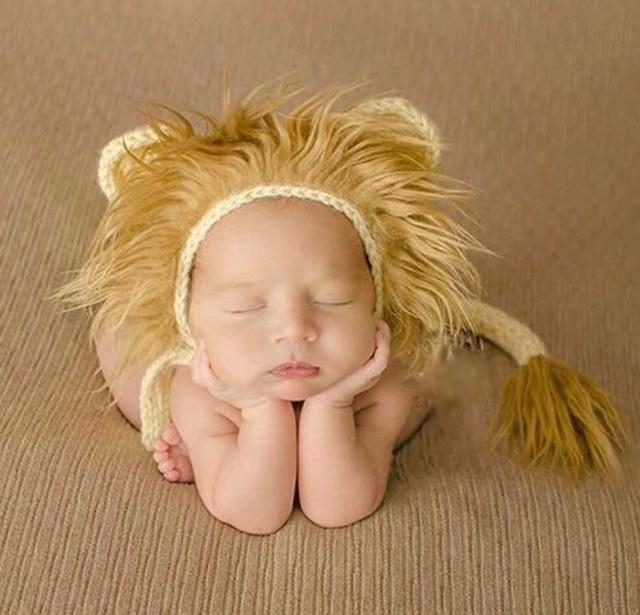 Leão Fotografia de Recém-nascidos Chapéu e Conjunto de Cauda, crochê bebê infantil cap bebê recém-nascido adereços animais, # p0293
