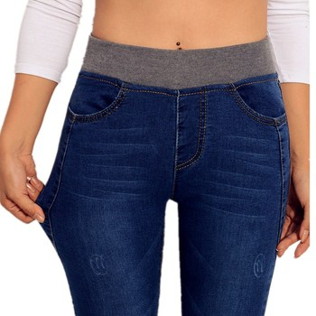 WKOUD 2019 Lente Jeans Vrouwen Stretch Skinny Denim Broek Dikker Dunne Hoge Taille Potlood Broek Vrouwelijke Herfst Jean Broek P8035