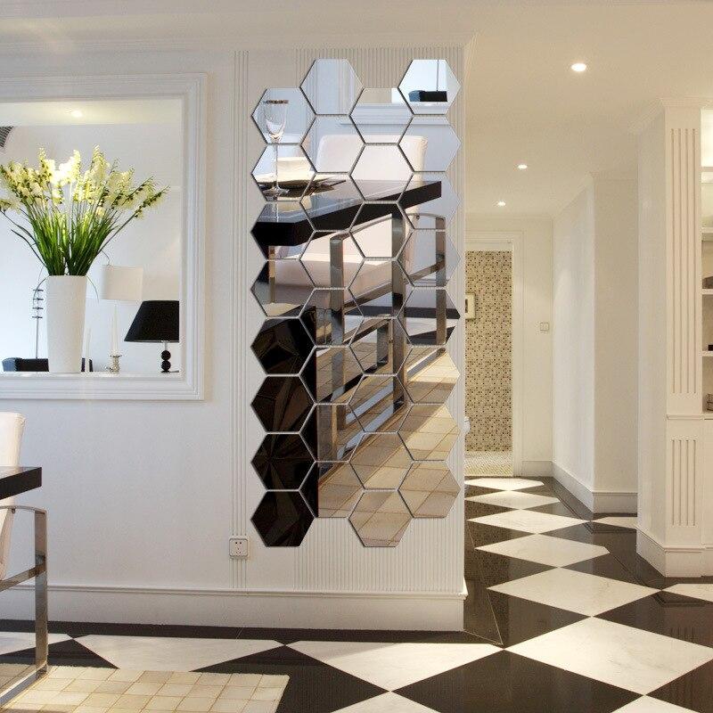 7 piece hexagon acrylic mirror wall stickers diy art wall decor wall stickers home decor living