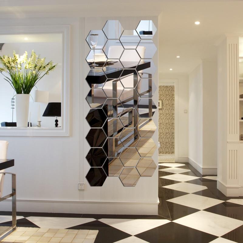 7 peça hexágono acrílico espelho adesivos de parede diy wall art decor adesivos de parede home decor sala espelhado autocolante decorativo