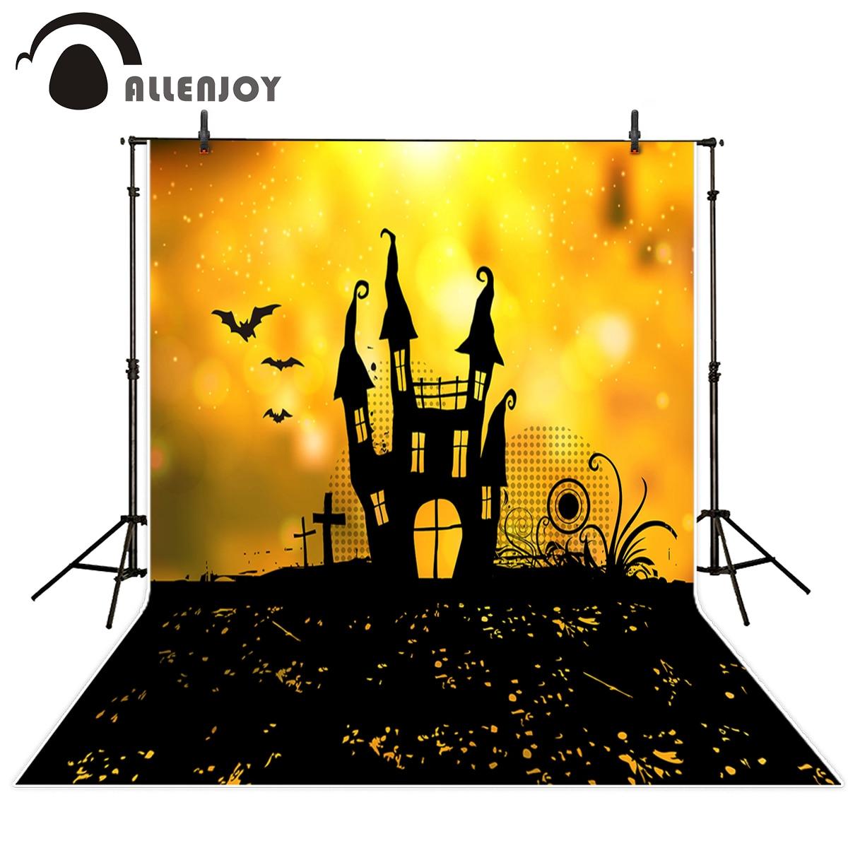 Allenjoy photography background glitter castle bat cross Halloween theme backdrop professional photo background studio