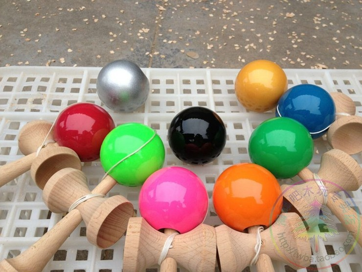 20piece Boutique   Size:18.5cmTraditional beech  Game  Kendama Ball colorful PU Paint tribute professional