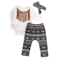 Cute Baby Girls Clothes Set 0 18M Newborn Infant Baby Cotton Tassel Bodysuit Romper Pant Headwear